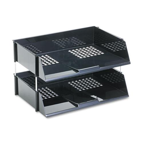 """Industrial Tray Side-Load Stacking Tray Set, 2 Sections, Letter to Legal Size Files, 16.38"""" x 11.13"""" x 3.5"""", Black, 2/Pack. Picture 2"""
