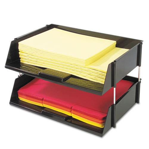 """Industrial Tray Side-Load Stacking Tray Set, 2 Sections, Letter to Legal Size Files, 16.38"""" x 11.13"""" x 3.5"""", Black, 2/Pack. Picture 1"""