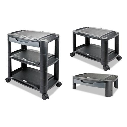3-in-1 Storage Cart and Stand, 21.63w x 13.75d x 24.75h, Black/Gray