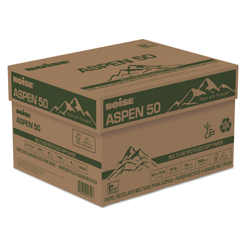 ASPEN 50 Multi-Use Recycled Paper, 20 Bright, 20lb, 8.5 x 14, White, 500 Sheets/Ream, 10 Reams/Carton. Picture 1