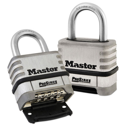 "ProSeries Stainless Steel Easy-to-Set Combination Lock, Stainless Steel, 5/16"". Picture 1"