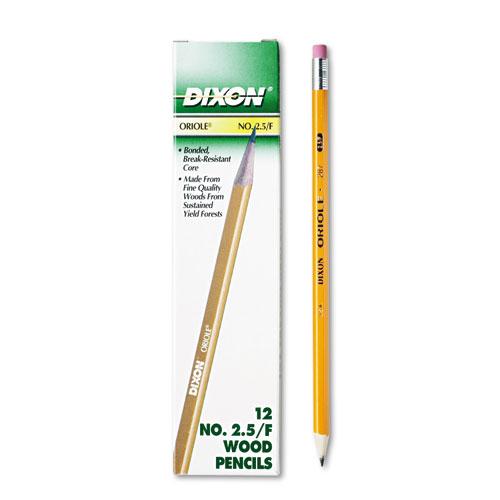 Oriole Pencil, F (#2.5), Black Lead, Yellow Barrel, Dozen. Picture 1