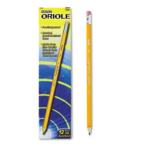 Oriole Pre-Sharpened Pencil, HB (#2), Black Lead, Yellow Barrel, Dozen. Picture 1