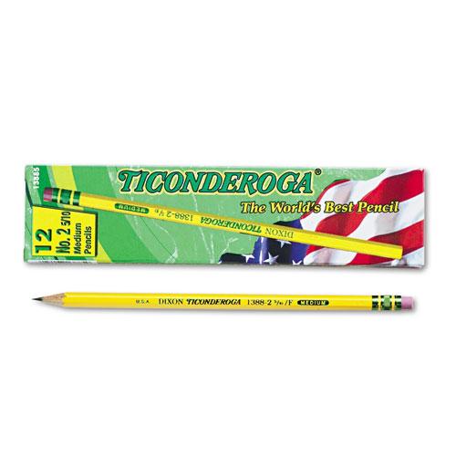 Pencils, F (#2.5), Black Lead, Yellow Barrel, Dozen. Picture 1