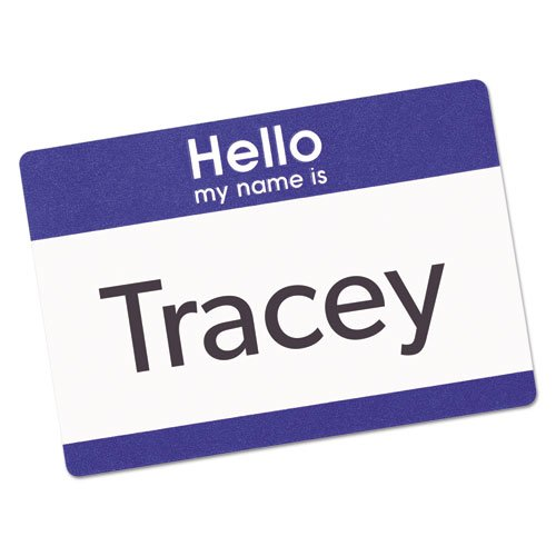 """Printable Adhesive Name Badges, 3.38 x 2.33, Blue """"Hello"""", 100/Pack. Picture 2"""