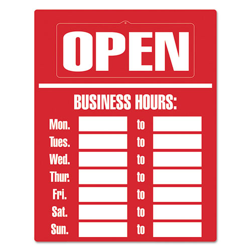 Business Hours Sign Kit, 15 x 19, Red. Picture 1