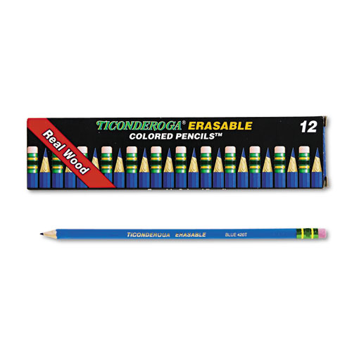 Erasable Colored Pencils, 2.6 mm, 2B (#1), Blue Lead, Blue Barrel, Dozen. Picture 1