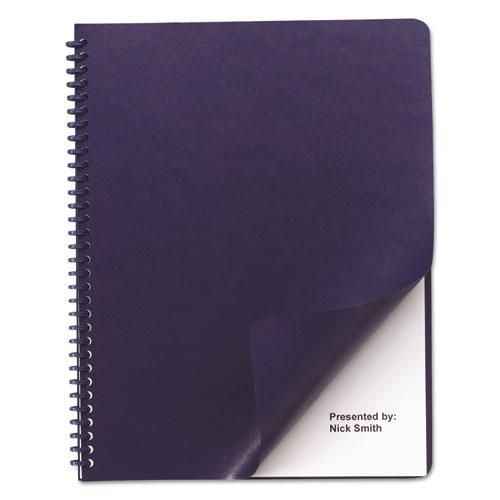 Leather Look Presentation Covers for Binding Systems, 11 x 8.5, Navy, 100 Sets/Box. Picture 1