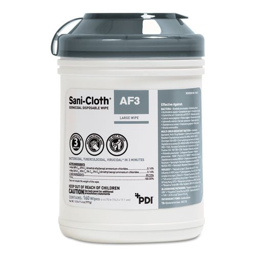 Sani-Cloth AF3 Germicidal Disposable Wipes, 6 x 6.75, 160 Wipes/Canister, 12 Canisters/Carton. Picture 1