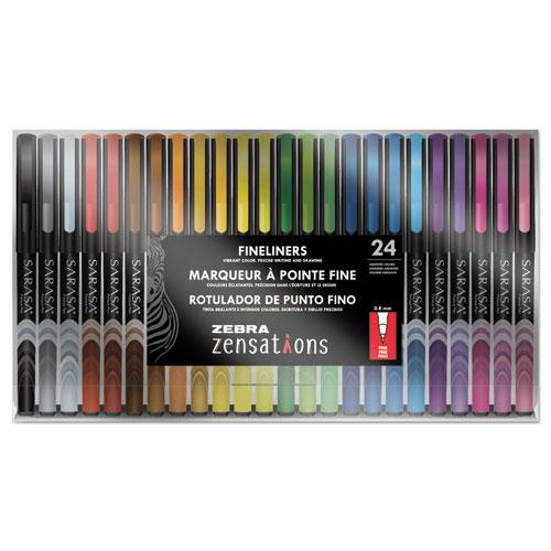 Zensations Fineliner Porous Point Pen, Stick, Fine 0.8 mm, Assorted Ink and Barrel Colors, 24/Pack. Picture 1