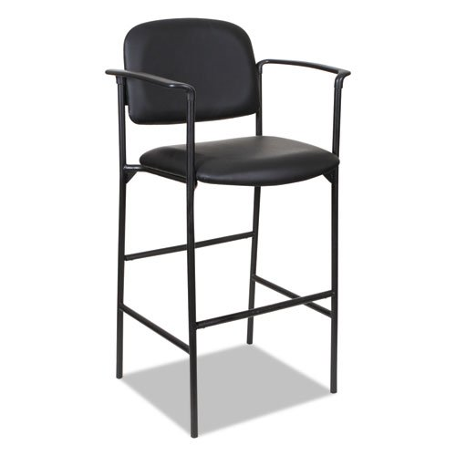 Alera Sorrento Series Stool, Supports up to 300 lbs, Black Seat/Black Back, Black Base, 2/Carton. Picture 2