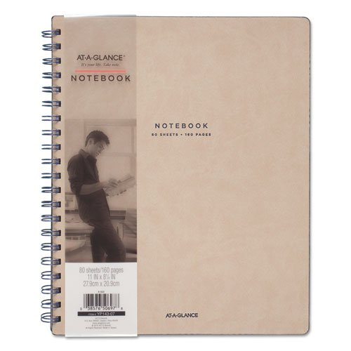 Collection Twinwire Notebook, 1 Subject, Wide/Legal Rule, Tan/Navy Blue Cover, 11 x 8.75, 80 Sheets. Picture 2