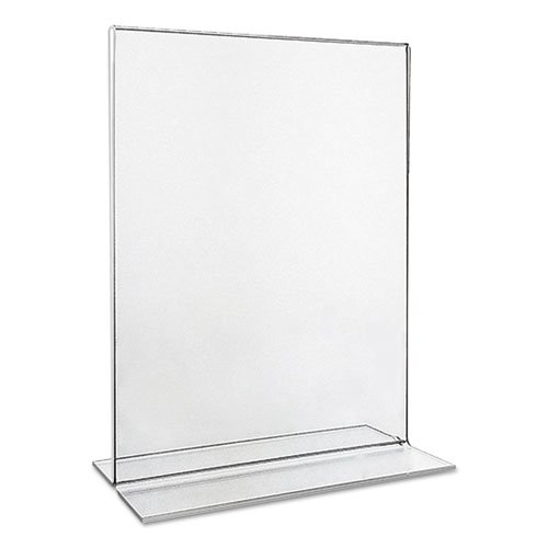 Clear 2-Sided T-Style Freestanding Frame, 8 1/2 x 11, 2/Pack. Picture 2