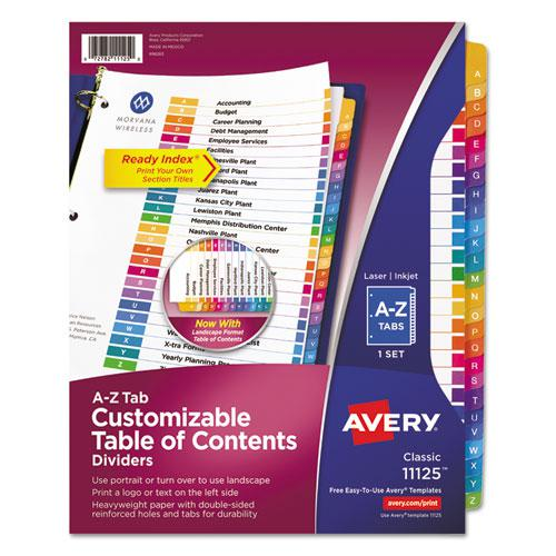 Customizable TOC Ready Index Multicolor Dividers, 26-Tab, Letter. Picture 1