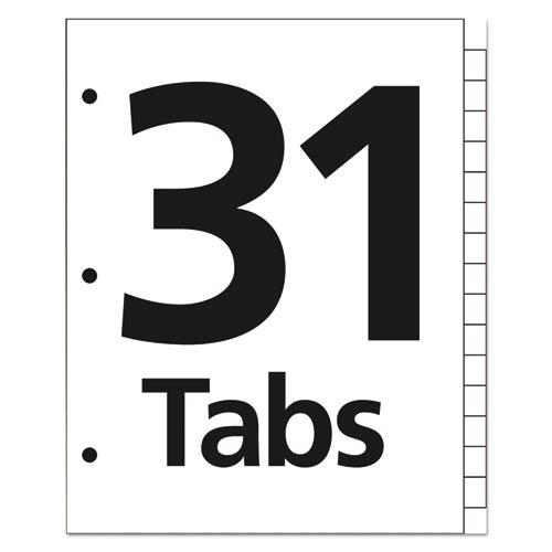 Table 'n Tabs Dividers, 31-Tab, 1 to 31, 11 x 8.5, White, 1 Set. Picture 3
