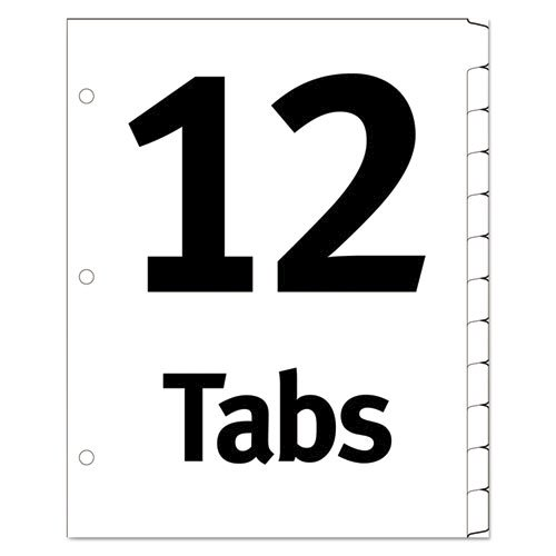 Table 'n Tabs Dividers, 12-Tab, 1 to 12, 11 x 8.5, White, 1 Set. Picture 3