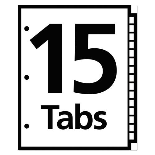 Table 'n Tabs Dividers, 15-Tab, 1 to 15, 11 x 8.5, White, 1 Set. Picture 3