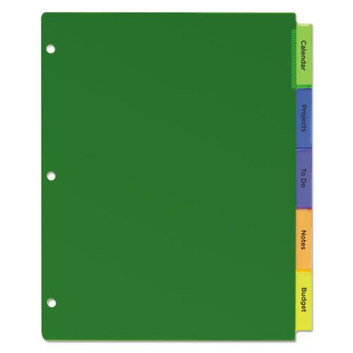 Insertable Big Tab Plastic Dividers, 5-Tab, 11 x 8.5, Assorted, 1 Set. Picture 8