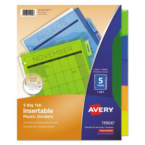 Insertable Big Tab Plastic Dividers, 5-Tab, 11 x 8.5, Assorted, 1 Set. Picture 1