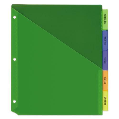Insertable Big Tab Plastic 1-Pocket Dividers, 5-Tab, 11.13 x 9.25, Assorted, 1 Set. Picture 6