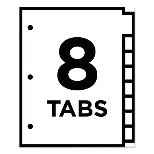 Table 'n Tabs Dividers, 8-Tab, 1 to 8, 11 x 8.5, White, 1 Set. Picture 3