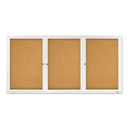 Enclosed Bulletin Board, Natural Cork/Fiberboard, 72 x 36, Silver Aluminum Frame. Picture 1