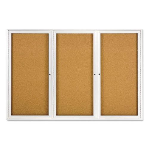 Enclosed Bulletin Board, Natural Cork/Fiberboard, 72 x 48, Silver Aluminum Frame. Picture 2