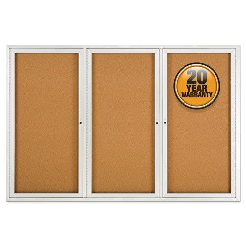 Enclosed Bulletin Board, Natural Cork/Fiberboard, 72 x 48, Silver Aluminum Frame. Picture 1