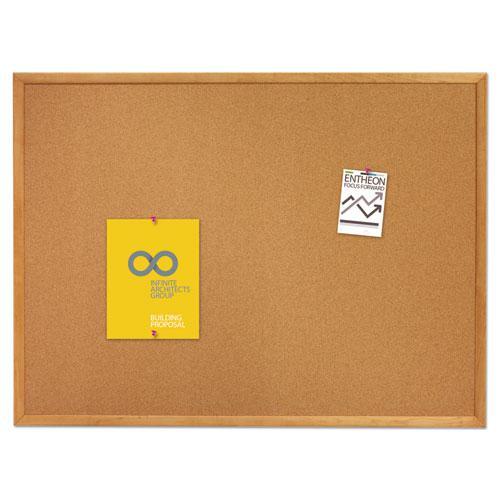 Classic Series Cork Bulletin Board, 48 x 36, Oak Finish Frame. Picture 3