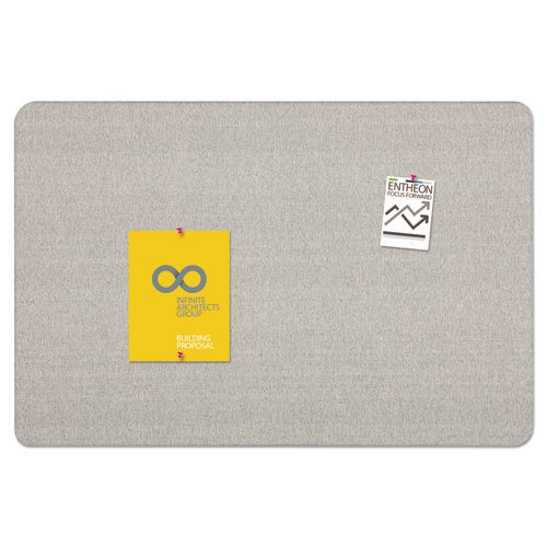 Oval Office Fabric Bulletin Board, 48 x 36, Gray. Picture 5