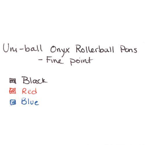 ONYX Stick Roller Ball Pen, Fine 0.7mm, Blue Ink, Black Matte Barrel, 72/Pack. Picture 6