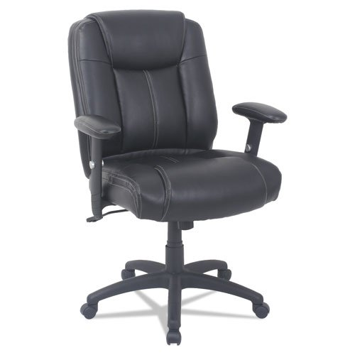 Alera CC Series Executive Mid-Back Bonded Leather Chair with Adjustable Arms, Supports up to 275 lbs, Black Seat/Back/Base. Picture 1