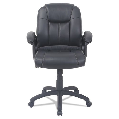 Alera CC Series Executive Mid-Back Bonded Leather Chair, Supports up to 275 lbs, Black Seat/Black Back, Black Base. Picture 2