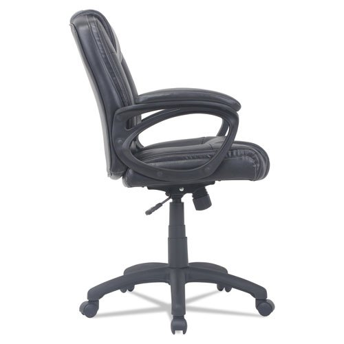 Alera CC Series Executive Mid-Back Bonded Leather Chair, Supports up to 275 lbs, Black Seat/Black Back, Black Base. Picture 3