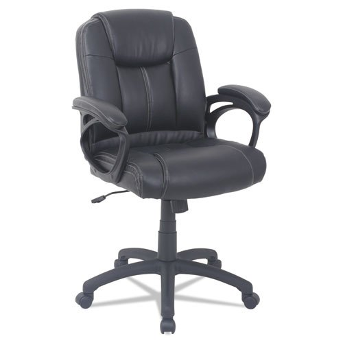 Alera CC Series Executive Mid-Back Bonded Leather Chair, Supports up to 275 lbs, Black Seat/Black Back, Black Base. Picture 1