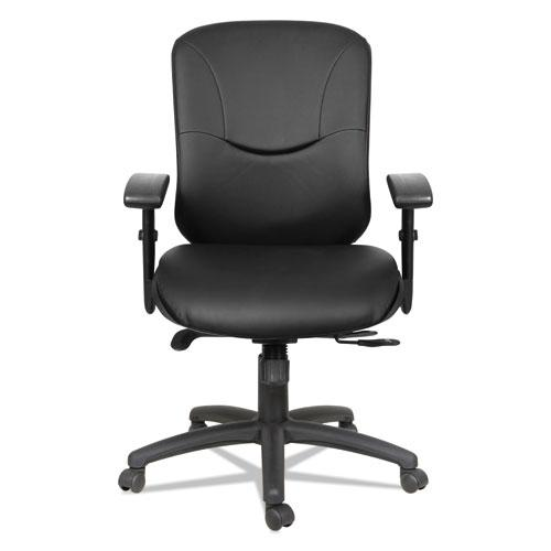 Alera Eon Series Mid-Back Bonded Leather Synchro with Seat Slide Chair, Supports 275 lbs, Black Seat/Black Back, Black Base. Picture 2