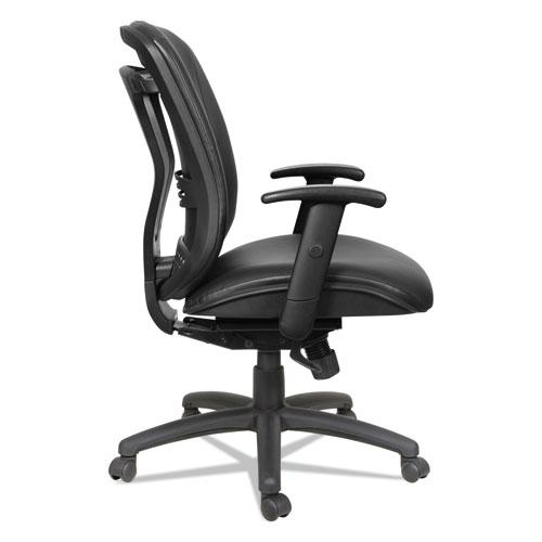 Alera Eon Series Mid-Back Bonded Leather Synchro with Seat Slide Chair, Supports 275 lbs, Black Seat/Black Back, Black Base. Picture 6