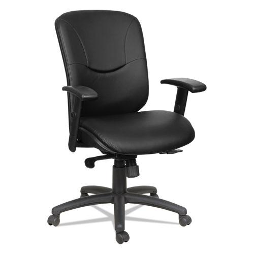 Alera Eon Series Mid-Back Bonded Leather Synchro with Seat Slide Chair, Supports 275 lbs, Black Seat/Black Back, Black Base. Picture 1