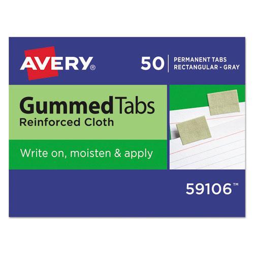 "Gummed Reinforced Index Tabs, 1/5-Cut Tabs, Olive Green, 1"" Wide, 50/Pack. Picture 1"