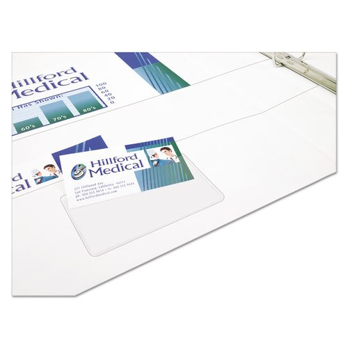 Self-Adhesive Business Card Holders, Top Load, 3-1/2 x 2, Clear, 10/Pack. Picture 4