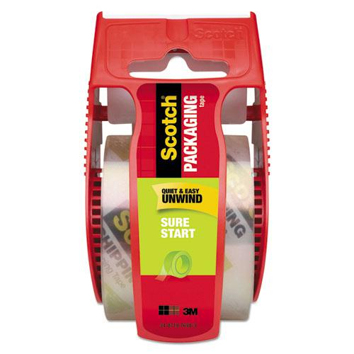 """Sure Start Packaging Tape with Dispenser, 1.5"""" Core, 1.88"""" x 22.2 yds, Clear. Picture 1"""