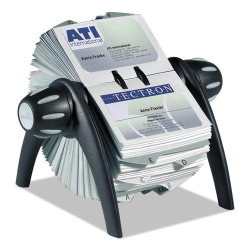 VISIFIX Flip Rotary Business Card File, Holds 400 4 1/8 x 2 7/8 Cards, Black/SR. Picture 1