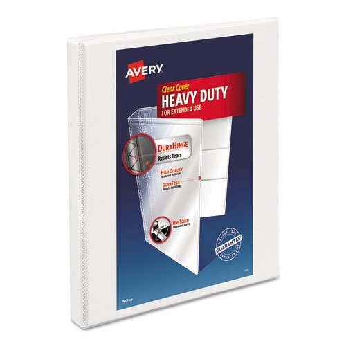 "Heavy-Duty Non Stick View Binder with DuraHinge and Slant Rings, 3 Rings, 0.5"" Capacity, 11 x 8.5, White, (5234). Picture 1"