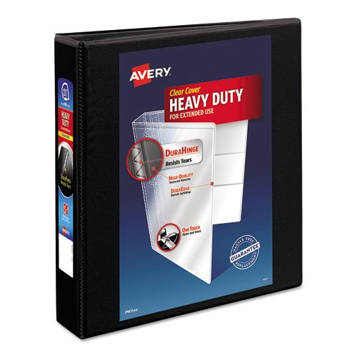 "Heavy-Duty Non Stick View Binder with DuraHinge and Slant Rings, 3 Rings, 1.5"" Capacity, 11 x 8.5, Black, (5400). Picture 1"
