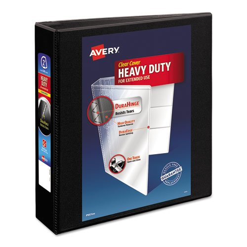"""Heavy-Duty Non Stick View Binder with DuraHinge and Slant Rings, 3 Rings, 2"""" Capacity, 11 x 8.5, Black, (5500). Picture 1"""