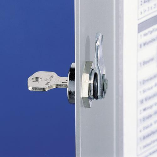 Locking Key Cabinet, 36-Key, Brushed Aluminum, Silver, 11 3/4 x 4 5/8 x 11. Picture 2