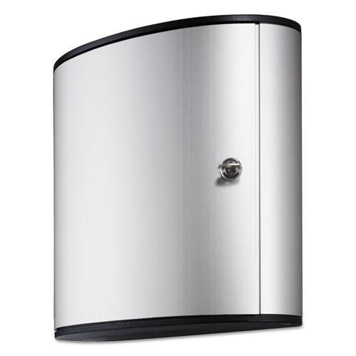 Locking Key Cabinet, 36-Key, Brushed Aluminum, Silver, 11 3/4 x 4 5/8 x 11. Picture 1