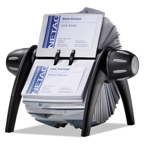 VISIFIX Flip Rotary Business Card File, Holds 400 4 1/8 x 2 7/8 Cards, Black/SR. Picture 3