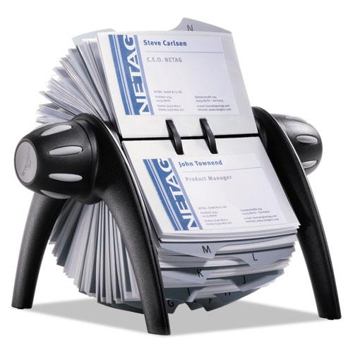 VISIFIX Flip Rotary Business Card File, Holds 400 4 1/8 x 2 7/8 Cards, Black/SR. Picture 4