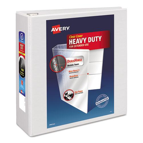 """Heavy-Duty View Binder with DuraHinge and Locking One Touch EZD Rings, 3 Rings, 4"""" Capacity, 11 x 8.5, White. Picture 1"""